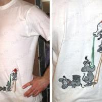 Вышивка на футболке сбоку
